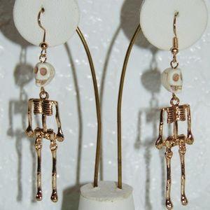 Gold Tone Dangle Skeleton Earrings